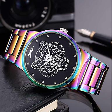 baratos Relógios Senhora-Homens Mulheres Bracele Relógio Relógio de Pulso Quartzo Aço Inoxidável Verde / Roxa 30 m Criativo Legal Punk Analógico Amuleto Luxo Casual Arco-Íris Rígida - Verde Azul e roxo Dois anos Ciclo de