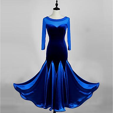 ボールルームダンス ドレス 女性用 性能 粘着サテン / ベルベット 七分袖 ハイウエスト ドレス