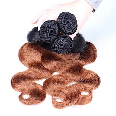 Indiai haj Hullámos haj Ombre Emberi haj sző Fekete / Medium Auburn Human Hair Extensions