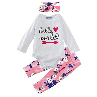 Baby Girls' Floral Indoor / Casual / Daily / Outdoor Floral Long Sleeve Regular Regular Cotton Clothing Set White 2-3 Years(100cm) / Toddler