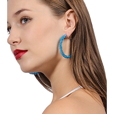 Women's Hoop Earrings - Statement, Basic White / Red / Blue For Party Casual