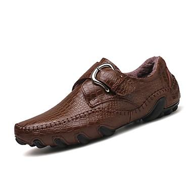 Men's Light Soles Leather / Cowhide Winter Comfort Sneakers Black / Brown