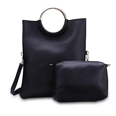 Női Táskák PU táska szettek Cipzár mert Hivatal és karrier Fekete / Arcpír rózsaszín / Világos szürke