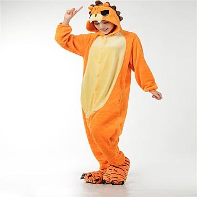 Adults' Kigurumi Pajamas Lion Onesie Pajamas Flannel Fabric Orange Cosplay For Men and Women Animal Sleepwear Cartoon Halloween Festival / Holiday