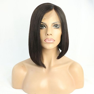 Remy Human Hair Glueless Lace Front / Lace Front Wig Brazilian Hair Straight Wig Bob Haircut 180% Women's Short Human Hair Lace Wig