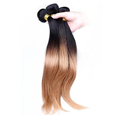 Perui haj Egyenes Ombre Emberi haj sző Fekete / Strawberry Blonde Human Hair Extensions