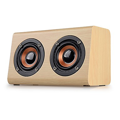 W7 Mini Style Bluetooth Bluetooth 2.1 3.5mm AUX Bookshelf Speaker Beige Brown