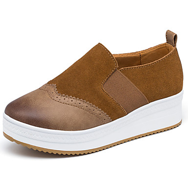 Women's Shoes Suede Spring / Fall Comfort Loafers & Slip-Ons Low Heel Round Toe Black / Brown