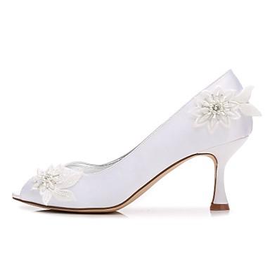 Kitten Chaussures Printemps ouvert Cône Talon Satin Femme Chaussures Talon Bas Eté de Confort Basique mariage 06198469 Heel Escarpin Bout wqfvEv1d