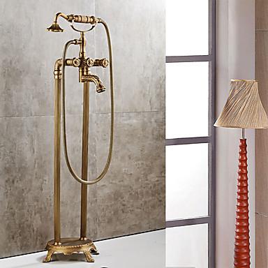 Bathtub Faucet Antique Copper Centerset Ceramic Valve Bath Shower Mixer Taps / Two Handles Two Holes