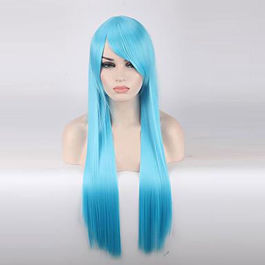 Szintetikus parókák Egyenes Szintetikus haj Kék Paróka Női Hosszú Sapka nélküli Világoskék