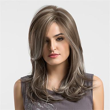 Szintetikus parókák Természetes hullám Sűrűség Sapka nélküli Női Barna Természetes paróka Közepes Szintetikus haj