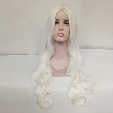 Synthetic Wig Wavy Synthetic Hair Middle Part White Wig Women's Long Capless