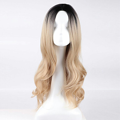 Synthetic Wig Wavy Blonde Synthetic Hair Ombre Hair / Dark Roots / Middle Part Blonde Wig Women's Long Capless