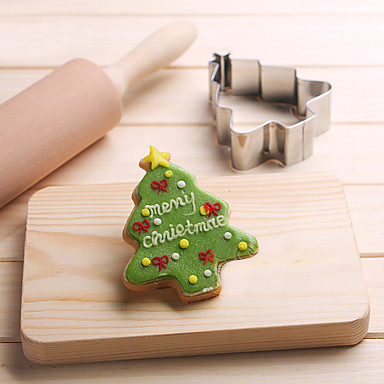 Christmas Pine Tree Shape Cookie Cutters Fruit Cut Molds Stainless Steel Cake Mold