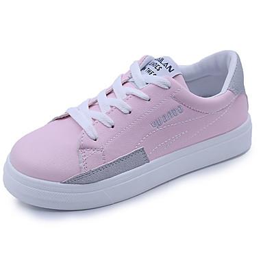 Mujer Zapatos Tul / PU Primavera / Verano Confort / Suelas con luz Zapatillas de deporte Tacón Plano Dedo redondo Blanco / Negro dcr9Bj