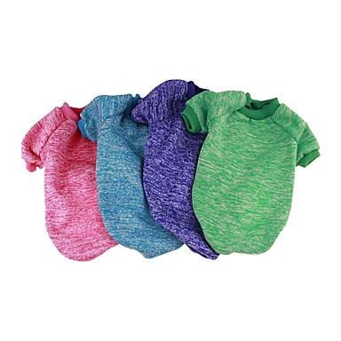Dog Sweatshirt Jumpsuit Dog Clothes Solid Colored Fuchsia Red Green Blue Pink Cotton Costume For Pets Casual / Daily