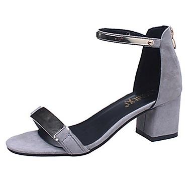 Tacón 06261056 luz con Hebilla Zapatos bloque Talón Puntera de Sandalias Primavera Sandalias Gris Negro Suelas Otoño PU abierta Mujer de wB4UqHgq