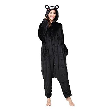 e2ee1c882 Adulto Pijamas Kigurumi Oso Pijamas de una pieza Franela Vellón Negro  Cosplay por Hombre y mujer