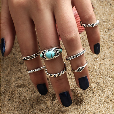Women's Turquoise Ring - Turquoise, Alloy Bohemian, Fashion, Boho One Size Silver For Casual / Formal