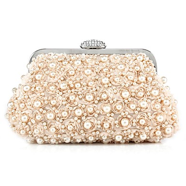 Women's Bags Polyester Evening Bag Beading Floral Print Champagne / White / Black