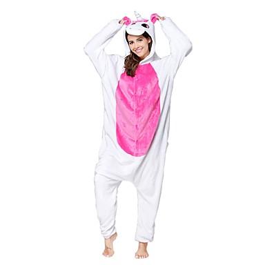 Adults' Kigurumi Pajamas Unicorn Onesie Pajamas Flannel Toison Fuschia Cosplay For Men and Women Animal Sleepwear Cartoon Festival / Holiday Costumes