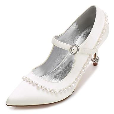 Női Szatén Tavasz / Nyár Kényelmes / Magasított talpú Esküvői cipők Cicasarok / Magas / Alacsony Erősített lábujj Strasszkő / Gyöngy / Hamis gyöngy Kék / Világosbarna / Kristály / Glitter / Rojt
