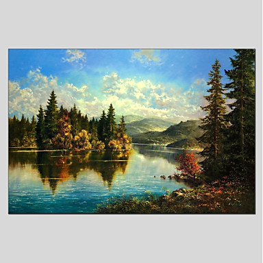 Oil Painting Hand Painted - Landscape Comtemporary Canvas / Stretched Canvas