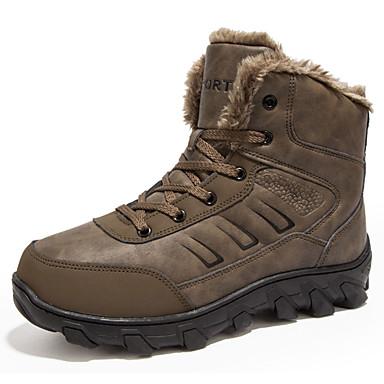 Férfi cipő Szintetikus Mikrorost PU Tél Ősz Fluff Bélés Kényelmes Sportcipők Túrázó Fűző mert Szabadtéri Fekete Barna