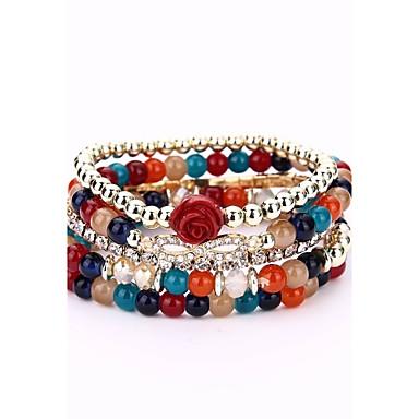 voordelige Armband-Dames Kralenarmband Wikkelarmbanden Bloem Modieus leuke Style Legering Armband sieraden Koffie / Regenboog / Rood Voor Afspraakje mielitietty