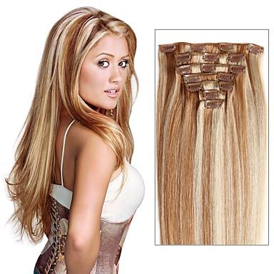 voordelige Extensions van echt haar-Febay Clip-in Extensions van echt haar Recht Mensen Remy Haar Extentions van mensenhaar Nano Dames Medium Brown / Bleached Blonde