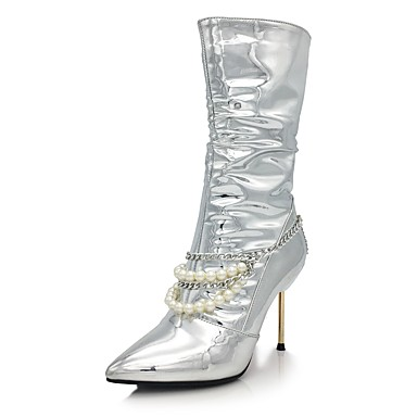 Women's Sparkling Glitter / Microfiber Fall / Winter Novelty / Fashion Boots Boots Stiletto Heel Pointed Toe Mid-Calf Boots Sequin / Imitation Pearl / Zipper Silver / Wedding / Party & Evening