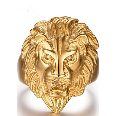 Men's Band Ring - Stainless Steel Lion Bohemian 8 / 9 / 10 / 11 / 12 Gold For Party Daily