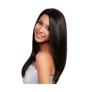 Emberi haj Csipke korona, szőtt / Csipke Paróka Brazil haj Egyenes Paróka Tincselve 130% Természetes hajszálvonal / Afro-amerikai paróka Női Rövid / Közepes / Hosszú Emberi hajból készült parókák