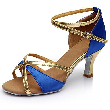 Női Latin cipők Személyre szabott anyagok Magassarkúk Tűsarok Személyre szabható Dance Shoes Barna / Piros / Kék / Otthoni