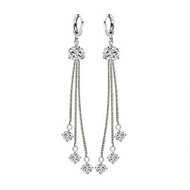 Női Szintetikus gyémánt Függők - Ezüstözött Bojt, Elegáns Ezüst Kompatibilitás Parti Eljegyzés