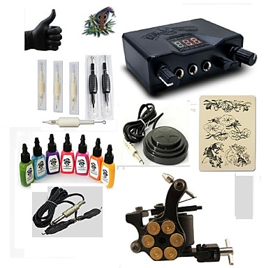 BaseKey Tattoo Machine Starter Kit - 1 pcs Tattoo Machines with 7 x 15 ml tattoo inks, Professional LED power supply Case Included 1