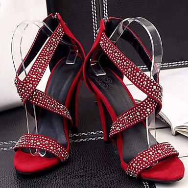 Fermeture 06234839 Talon Automne Daim Bout Chaussures Vert ouvert Sandales Rouge Eté Noir Strass Aiguille Femme Confort Nouveauté Af7qwx