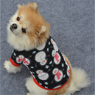Dog Sweatshirt Dog Clothes Geometic Black / White / Black Polar Fleece Costume For Pets Christmas / New Year's