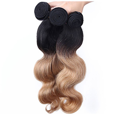 Brazil haj Hullámos haj Ombre Emberi haj sző Fekete / Strawberry Blonde Human Hair Extensions