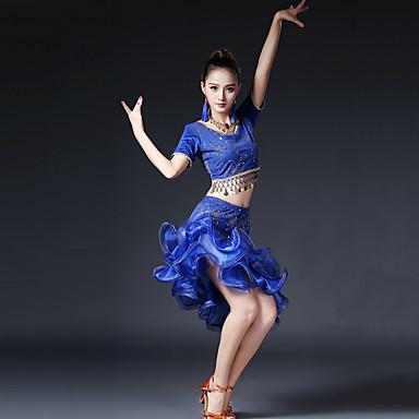 Latin tánc Felszerelések Női Teljesítmény Mlječna vlakna Réz érmék Fodrozott Rövid ujjú Ejtett Szoknyák Felső