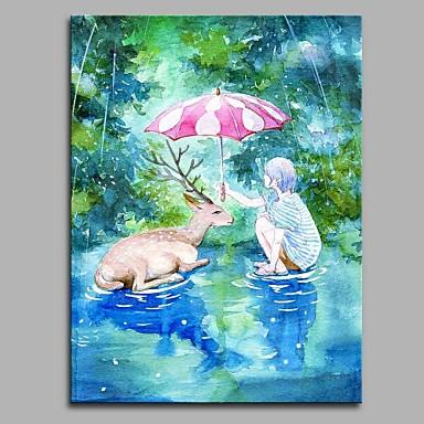 Hang festett olajfestmény Kézzel festett - Rajzfilm Modern / kortárs Vászon
