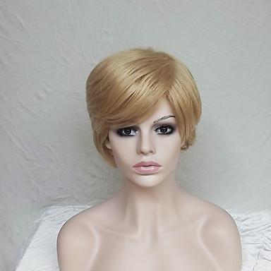 Synthetic Wig Straight / Natural Wave Blonde Asymmetrical Haircut / With Bangs Synthetic Hair Natural Hairline Blonde Wig Women's Short Capless