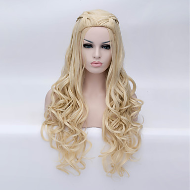 Synthetic Wig / Cosplay & Costume Wigs Deep Wave Blonde Synthetic Hair Blonde Wig Women's Long Capless