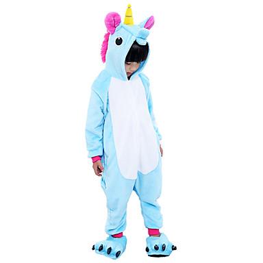 Kid's Kigurumi Pajamas Unicorn Flying Horse Onesie Pajamas Flannel Fabric Purple / Blue / Pink Cosplay For Boys and Girls Animal Sleepwear Cartoon Festival / Holiday Costumes