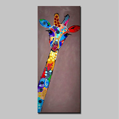 Oil Painting Hand Painted - Animals Abstract / Modern Stretched Canvas