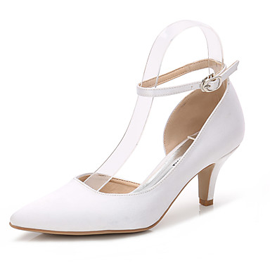 ADOR® Women's Shoes Silk Spring / Fall Basic Pump / Ankle Strap Wedding Shoes Stiletto Heel Pointed Toe Buckle / Gore White / Light Pink /
