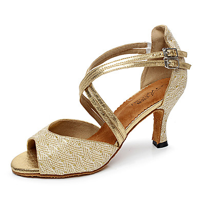 Women's Latin Shoes Glitter / Tulle / PU Heel Buckle / Splicing Customizable Dance Shoes Gold / Black / Silver / Indoor