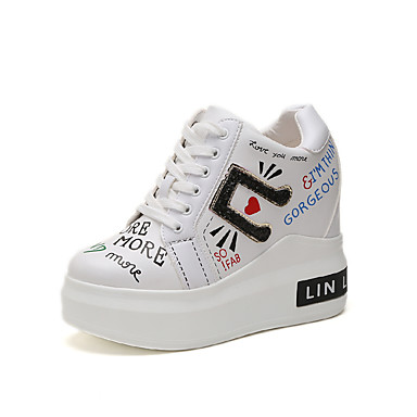 Women's Shoes PU(Polyurethane) Spring Comfort Sneakers Wedge Heel White / Black