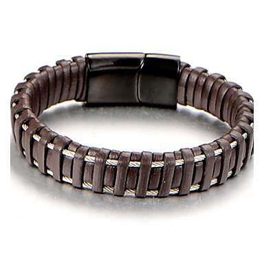 Men's Cuff Bracelet Bracelet - Leather, Titanium Steel Personalized, Fashion Bracelet Brown For Daily Work